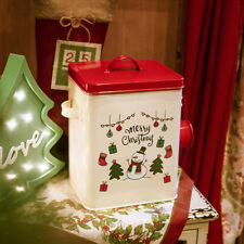 Christmas Tin Gift Box Square Cookie Candy Storage Containers Bread Box