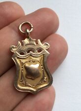ANTIQUE ENGLISH 9ct GOLD POCKET WATCH CHAIN FOB MEDAL CHESTER 1927