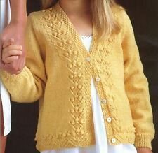 Knitting Pattern Girl's Pretty 4 Ply Lace & Bobble Cardigan Ages 1-10 Years (16)