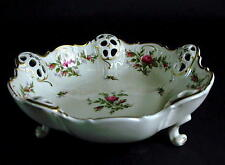 VG GERMAN ROSENTHAL KRONACH MOLIERE RETICULATED FOOTED PORCELAN MOOSROSE BOWL #2