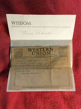 ELEANOR ROOSEVELT ORIGINAL TELEGRAM SIGNATURE AUTOGRAPH SIGNED 1950'S WISDOM