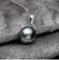 beautiful  black 16 mm south sea shell pearl pendant necklace +chain