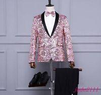 Mens Nightclub Sequins Bling Suit Blazer Bar Coat Slim Fit Jacket Dress Formal