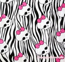 Halloween Purple Orange Stripe Pumpkin Zebra Skull Craft Satin Fabric 1 Yard
