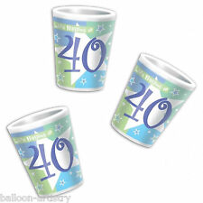6 Happy 40th Birthday Life Begins At 40 Shimmer Star Party Style Shot Glasses