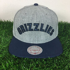 Mitchell and Ness Memphis Grizzlies Gray Adjustable Fit Wool Snapback Cap Hat
