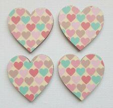 Handmade Set of 4 Wooden Heart Fridge Magnets Gorgeous Pastel Hearts Print