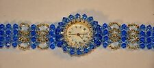 Women's Hand Crafted Quartz Analog Fashion Watch, Cut Glass Crystal Beads, Blue,