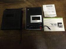 VINTAGE SONY TC-92 REGISTRATORE A CASSETTE CORDER magnetofono PORTATILE CON CUSTODIA manuale.