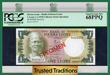 "Tt Pk 5b-Cs2 1978 Sierra Leone 1 Leone ""The Lion King"" Pcgs 68 Ppq Superb Gem!"