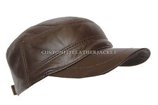 New Gatsby Unisex Dark Choco Castro Cap High Quality Genuine Leather Beret Hat