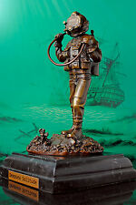 BRONZE (METAL) DIVER STATUE ON STONE (LIMITED EDITION #77 of 150) HELMET DIVING