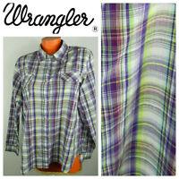 Wrancher Wrangler XXL 2X 18 20 Shirt Button Dwn Top Plaid Western Purple Snap pp