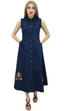 Bimba Women Classic Collar Neck Shirt Dress Dark Blue Sleeveless Dresses