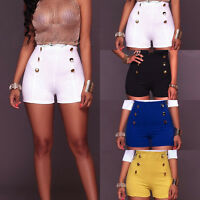 Summer Women's Sexy Slim Fit Double-breasted Shorts Pants High Waist Hot Pants