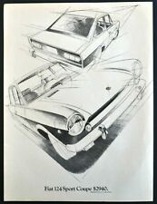 Fiat 124 Sport Coupe $2940 Suggested Price New York Vtg Full Page Print Ad