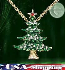 New Christmas Tree Enameled Holiday Gold Womens Crystal Pendant Necklace