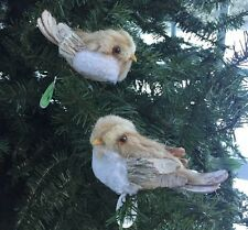 "Lot 2 Natural rustic Chickadee Clip On bird tree ornament 5"" birch bark tail"