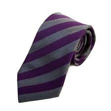 Canali 1934 Purple and Grey Striped Silk Tie 13142