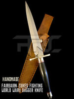 CUSTOM HANDMADE FAIRBAIRN SYKES FIGHTING WORLD WARII DAGGER KNIFE WITH SHEATH