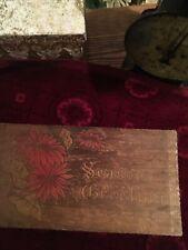 Vintage Wood Christmas Season Greetings Box-tramp Art Christmas Gift Box-11x6x
