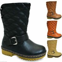 New Girls Boys Quilted Fur Lined Thick Sole Mid Calf Boots Children Shoes Size 7