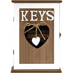 Wall Mounted Wooden  'KEYS'  6 Key Cabinet Keyhole Storage Box Holder