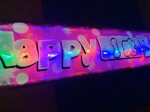 Personalised Pink flashing Happy Birthday BANNER 1 2 3 4 5 6 7 8 9 10 any age