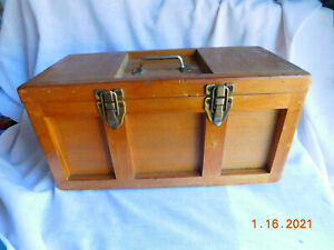 Antique Vintage Oak Wood Tool  Storage Box With Contents