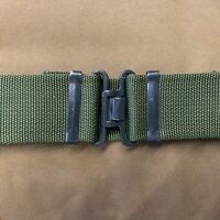 UK BRITISH ARMY SURPLUS ISSUE OLIVE GREEN S95 WORKING BELT & CROSS OVER BUCKLE