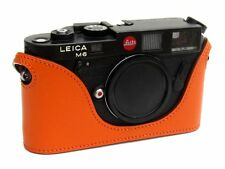 Leather Half Case for Leica M6, M7, MP, M3  (Burnt Orange with orange stitching