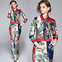 Spring Summer Fall 2pcs Runway Women Sets Floral Print Blouse Pant Suit Outfits