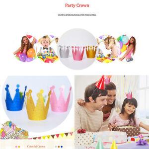 6Pcs Kids Adult Paper Birthday Hats Cap Crown Prince Princess Party Decoration