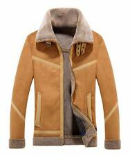 Men's Winter Spread Collar Sherpa Lined Suede Leather Trucker Jacket Coats L