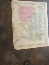 1867 ORIGINAL Map of Louisiana, Mississippi, Arkansas