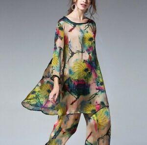 Plus Women Satin Floral Print 2Pcs Loose T Shirt Wide-leg Pants Suit Casual Maxi