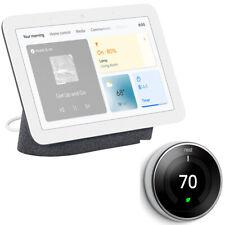 Concentrador de nido de Google Pantalla con Google Asst, carbón (2nd Gen.) + Termostato De Aprendizaje