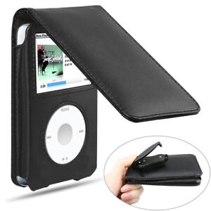 Leather Case for iPod With Belt Clip Black for iPod Classic Protective Case New