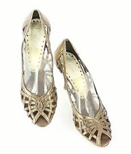 BCBGirls Sz 8 Bronze Metallic Open Toe Woven Leather Heel E120