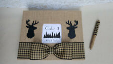 Rustic Cabin Guest Book Set- Guestbook Burlap Hunting Plaid Rental Sign Home