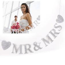 Glitter MR & MRS Garland Wedding Bunting Banner Hanging Decoration Love Heart