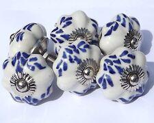 céramique poignée Placard tirer fleur blanche avec bleu formes (