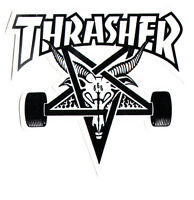 Thrasher Magazine Skate Goat Pentagram Skateboard Sticker 9cm x 10cm White/Black