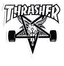 Thrasher Magazine Skate Goat Pentagram Skateboard Sticker 9cm x 10cm White/Black