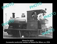OLD 8x6 HISTORIC PHOTO OF MOUNT ISA QLD OLD MINES SMELTER LOCOMOTIVE c1936