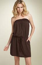EUC NORDSTROM XS / S STEM Blouson Strapless Dress Pockets CHOCOLATE BROWN SMALL