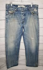 Diesel Industry Denim Division Mens Button Fly Jeans  36x32 Destroyed