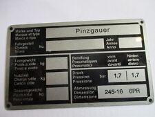 Placa IDENTIFICADORA PANEL ABOLLADURAS STEYR PUCH PINZGAUER S30