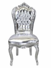 CHAIRS FRANCE BAROQUE STYLE DINING ROYAL CHAIR SILVER / SILVER  #60ST5