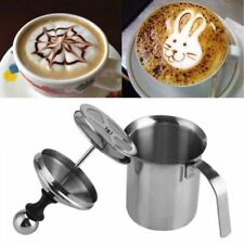 800ml Manual Milk Frother Hot Cold Coffee Cappuccino Latte Filter Foamer Infuser